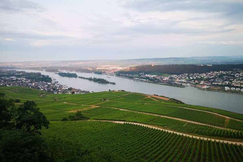 Blick von oben auf den Rhein beim Bikertreffen Magic Bike in Rüdesheim am Rhein