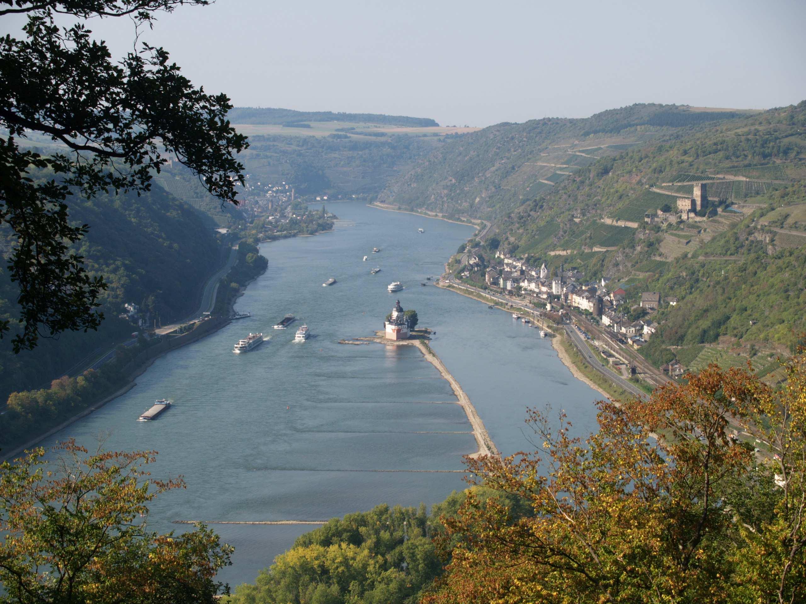 Blick ins Tal zur Burg Pfalzgrafenstein